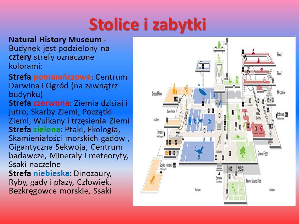 Stolice i zabytki Natural History Museum - Budynek jest podzielony na cztery strefy oznaczone kolorami: Strefa pomarańczowa: Centrum Darwina i Ogród (