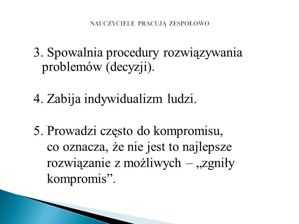 3. Spowalnia procedury rozwiązywania problemów (decyzji).