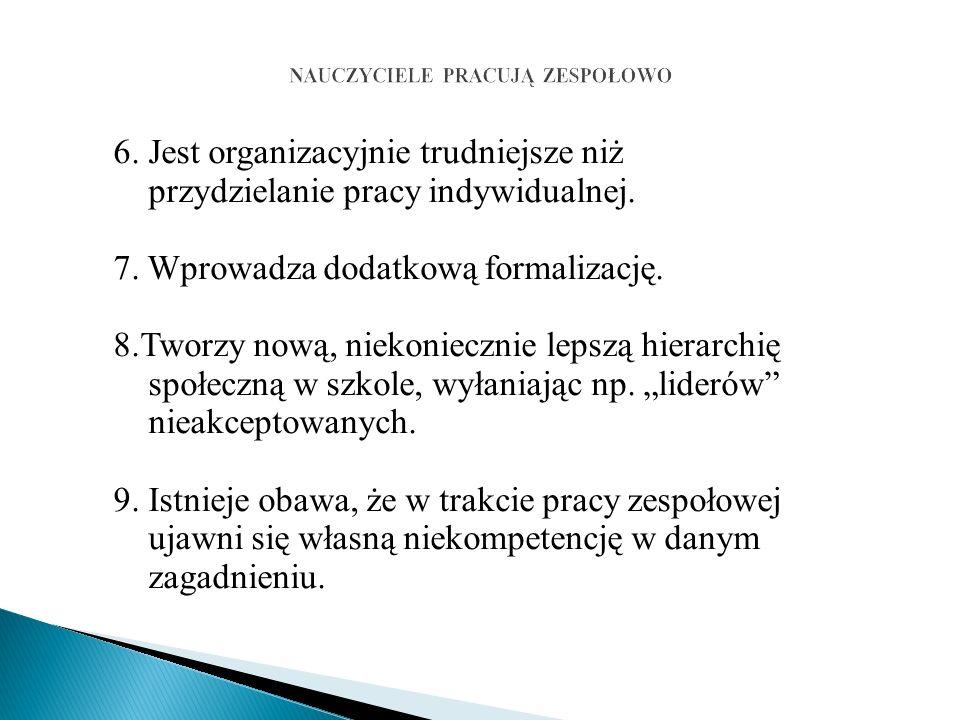6. Jest organizacyjnie trudniejsze niż przydzielanie pracy indywidualnej.