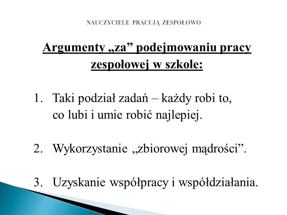 """Argumenty """"za podejmowaniu pracy zespołowej w szkole: 1."""