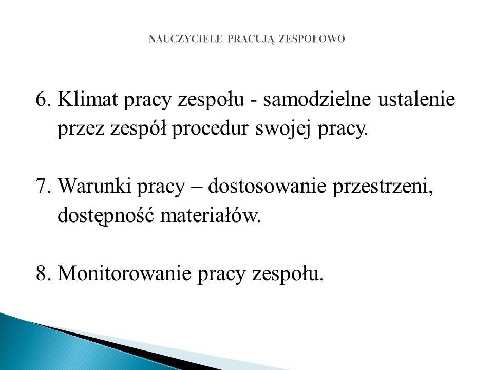 6. Klimat pracy zespołu - samodzielne ustalenie przez zespół procedur swojej pracy.