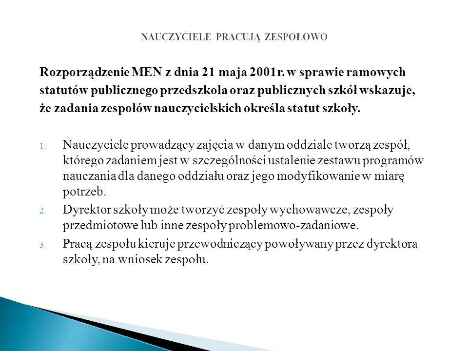 Rozporządzenie MEN z dnia 21 maja 2001r.