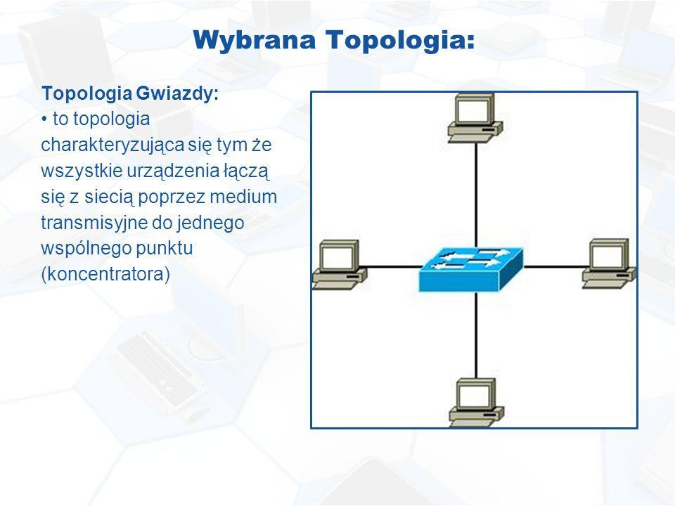 Wybrana Topologia: Topologia Gwiazdy: to topologia charakteryzująca się tym że wszystkie urządzenia łączą się z siecią poprzez medium transmisyjne do jednego wspólnego punktu (koncentratora)
