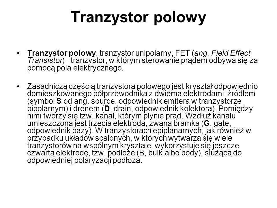Tranzystor polowy Tranzystor polowy, tranzystor unipolarny, FET (ang.