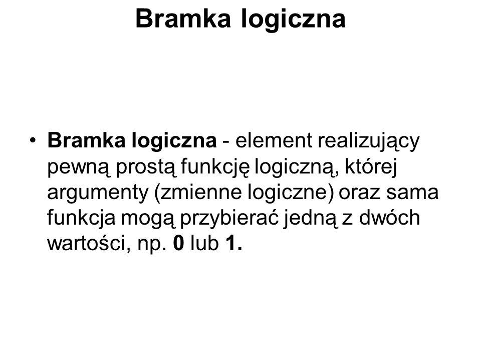 Bramka logiczna Bramka logiczna - element realizujący pewną prostą funkcję logiczną, której argumenty (zmienne logiczne) oraz sama funkcja mogą przybierać jedną z dwóch wartości, np.