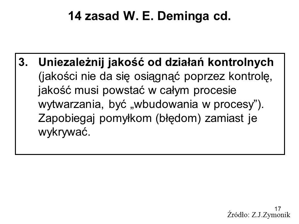 17 14 zasad W. E. Deminga cd. 3.Uniezależnij jakość od działań kontrolnych (jakości nie da się osiągnąć poprzez kontrolę, jakość musi powstać w całym