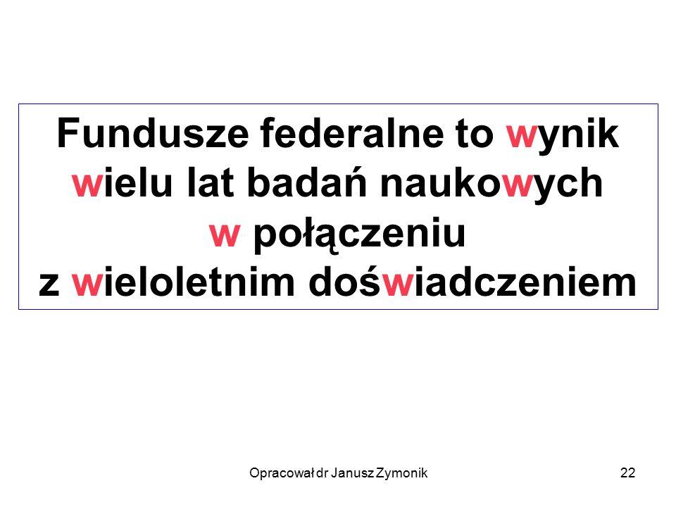 Opracował dr Janusz Zymonik22 Fundusze federalne to wynik wielu lat badań naukowych w połączeniu z wieloletnim doświadczeniem