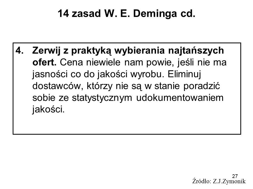27 14 zasad W. E. Deminga cd. 4.Zerwij z praktyką wybierania najtańszych ofert. Cena niewiele nam powie, jeśli nie ma jasności co do jakości wyrobu. E