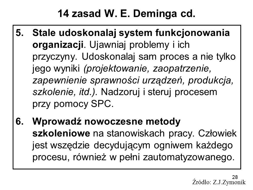 28 14 zasad W. E. Deminga cd. 5.Stale udoskonalaj system funkcjonowania organizacji. Ujawniaj problemy i ich przyczyny. Udoskonalaj sam proces a nie t