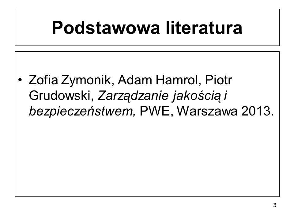 Podstawowa literatura Zofia Zymonik, Adam Hamrol, Piotr Grudowski, Zarządzanie jakością i bezpieczeństwem, PWE, Warszawa 2013. 3