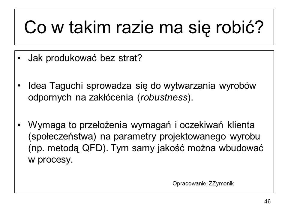 Co w takim razie ma się robić? Jak produkować bez strat? Idea Taguchi sprowadza się do wytwarzania wyrobów odpornych na zakłócenia (robustness). Wymag