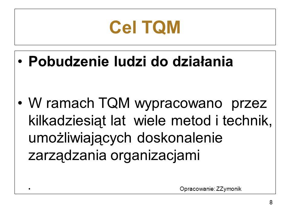 Cel TQM Pobudzenie ludzi do działania W ramach TQM wypracowano przez kilkadziesiąt lat wiele metod i technik, umożliwiających doskonalenie zarządzania