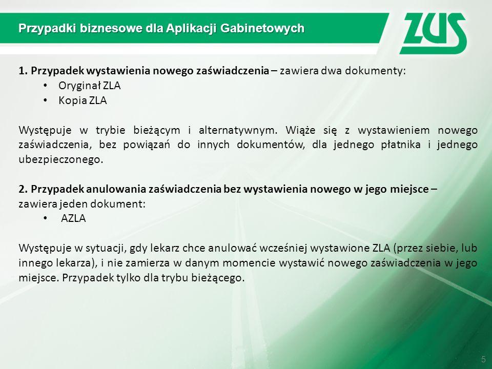 Przypadki biznesowe dla Aplikacji Gabinetowych 1. Przypadek wystawienia nowego zaświadczenia – zawiera dwa dokumenty: Oryginał ZLA Kopia ZLA Występuje