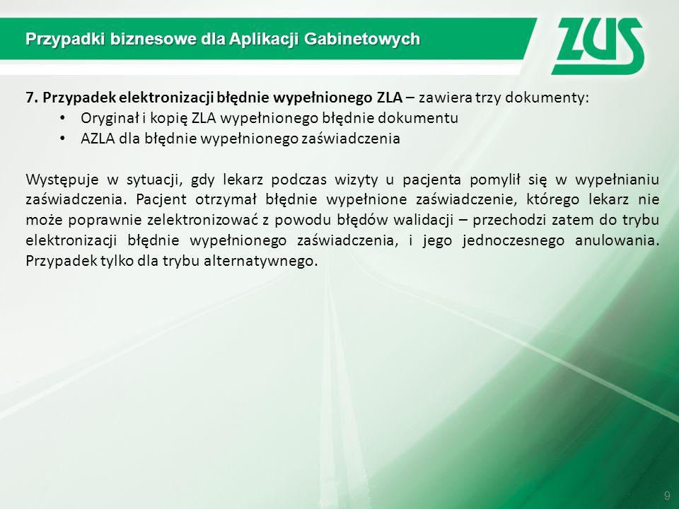 Przypadki biznesowe dla Aplikacji Gabinetowych 7. Przypadek elektronizacji błędnie wypełnionego ZLA – zawiera trzy dokumenty: Oryginał i kopię ZLA wyp