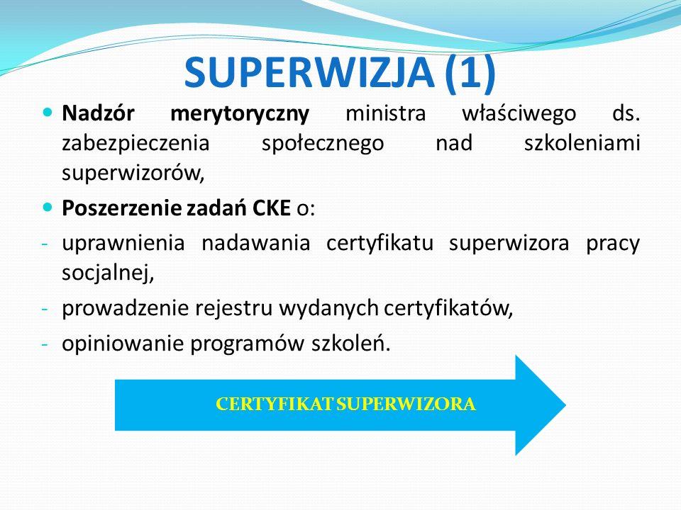 SUPERWIZJA (1) Nadzór merytoryczny ministra właściwego ds.