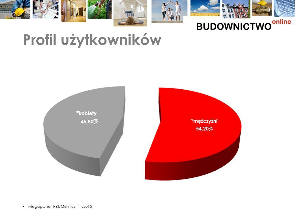 Profil użytkowników Megapanel PBI/Gemius, 11.2015 *mężczyźni 54,20% *kobiety 45,80% *mężczyźni 54,20% * kobiety 45,80 %