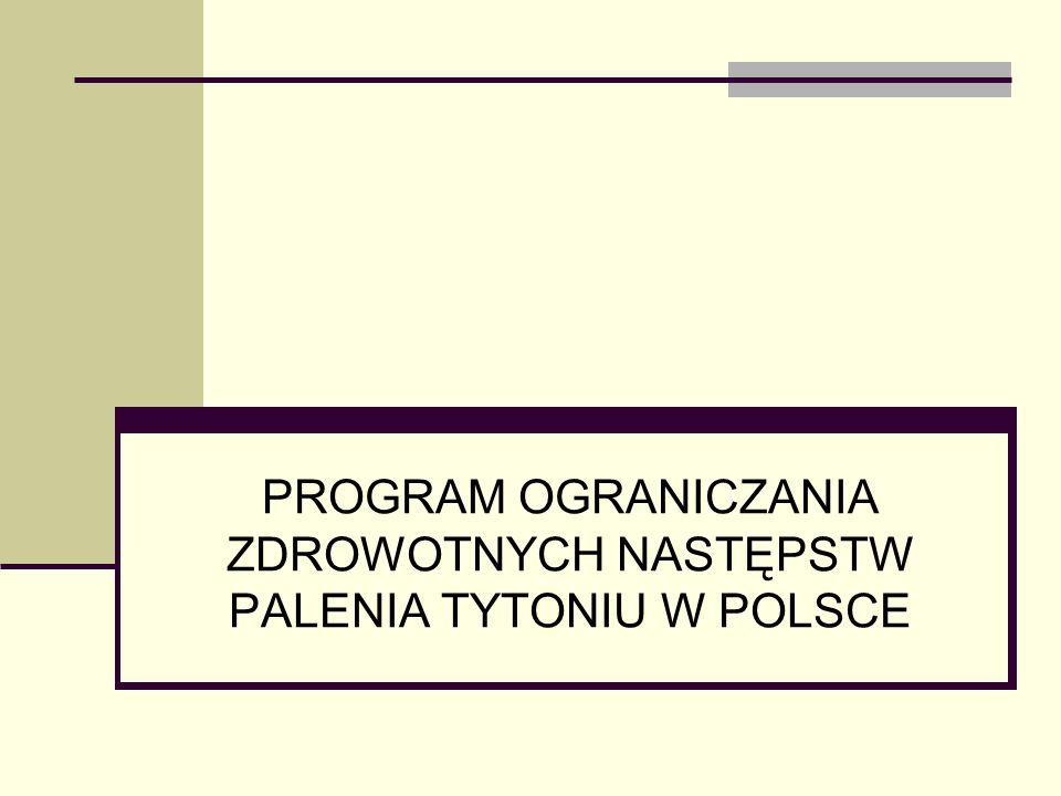 Program Ograniczania Zdrowotnych Następstw Palenia Tytoniu w Polsce określa priorytetowe cele i zadania na lata 2014-2018, Koordynatorem rządowego POZNPT jest Główny Inspektor Sanitarny,