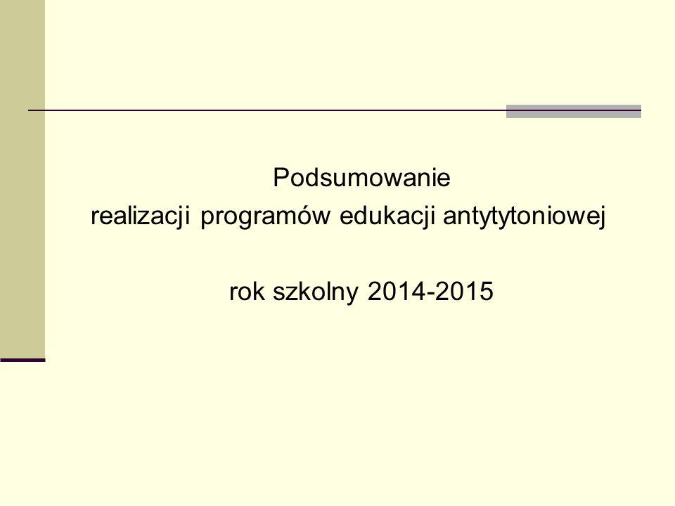 Podsumowanie realizacji programów edukacji antytytoniowej rok szkolny 2014-2015
