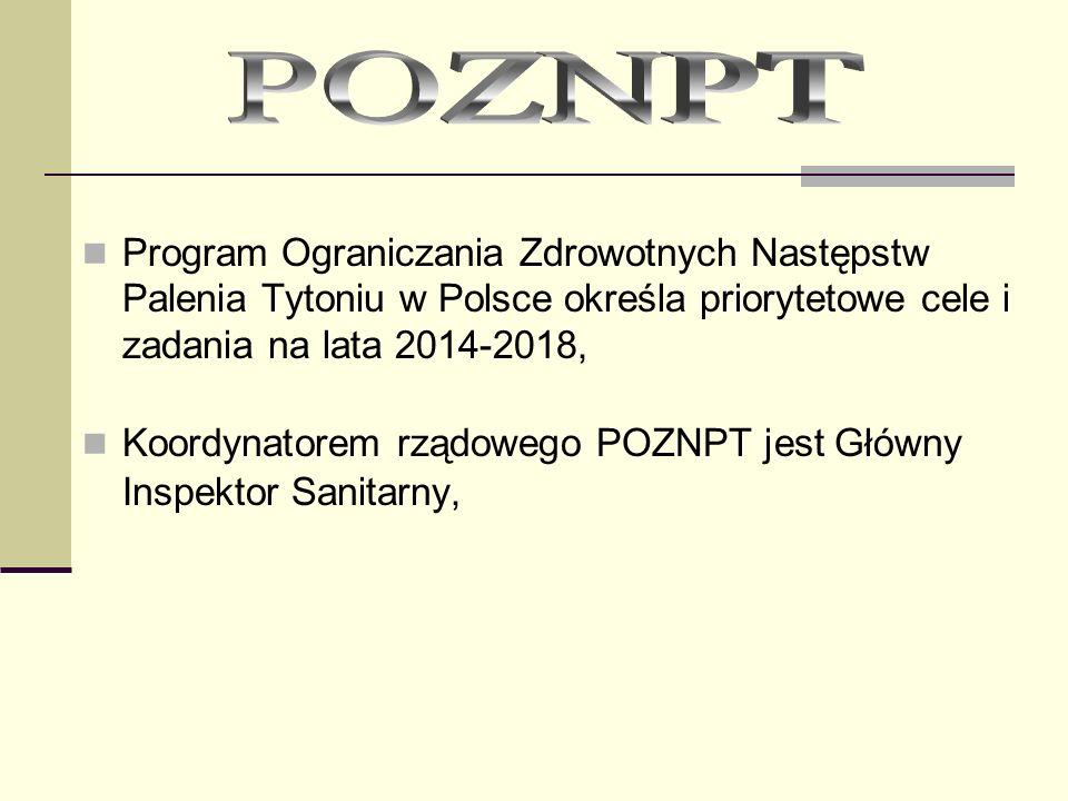 Założenia POZNPT na lata 2014 - 2018 Cel główny: Ograniczenie ekspozycji na dym tytoniowy (w odniesieniu do czynnego i biernego palenia tytoniu) w społeczeństwie polskim.