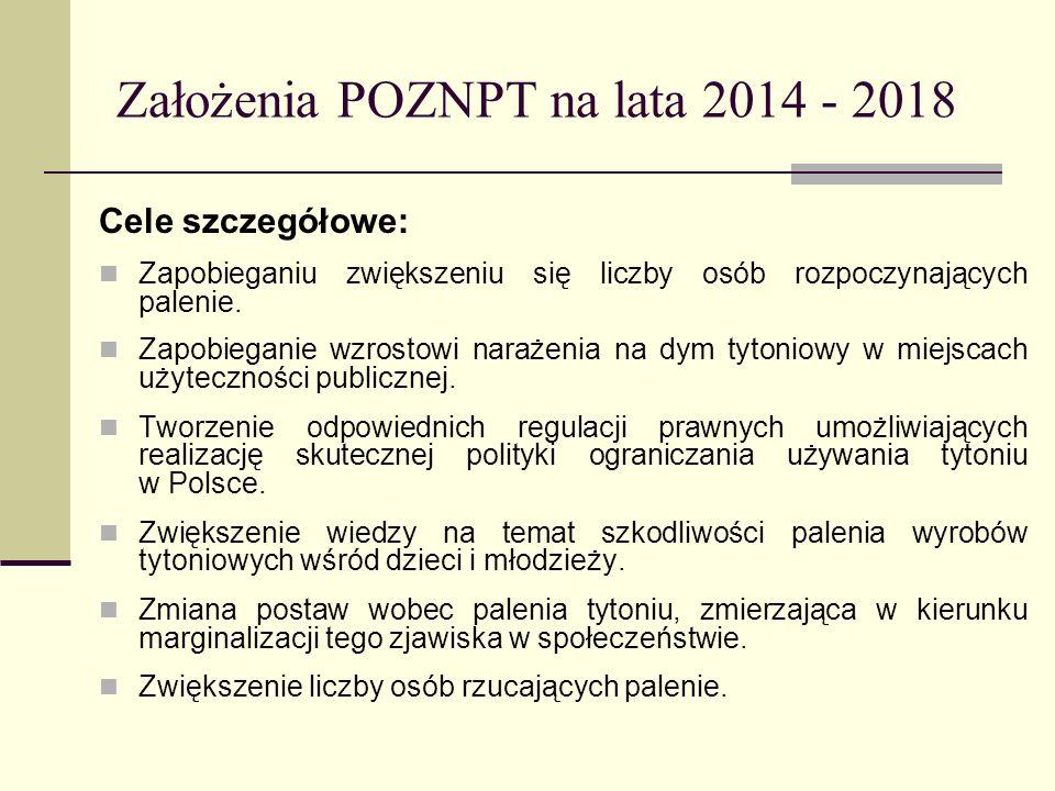 Założenia POZNPT na lata 2014 - 2018 Cele szczegółowe: Zapobieganiu zwiększeniu się liczby osób rozpoczynających palenie. Zapobieganie wzrostowi naraż