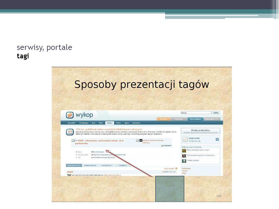 serwisy, portale tagi