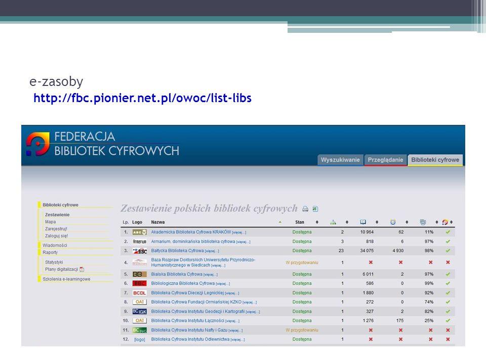 e-zasoby http://fbc.pionier.net.pl/owoc/list-libs