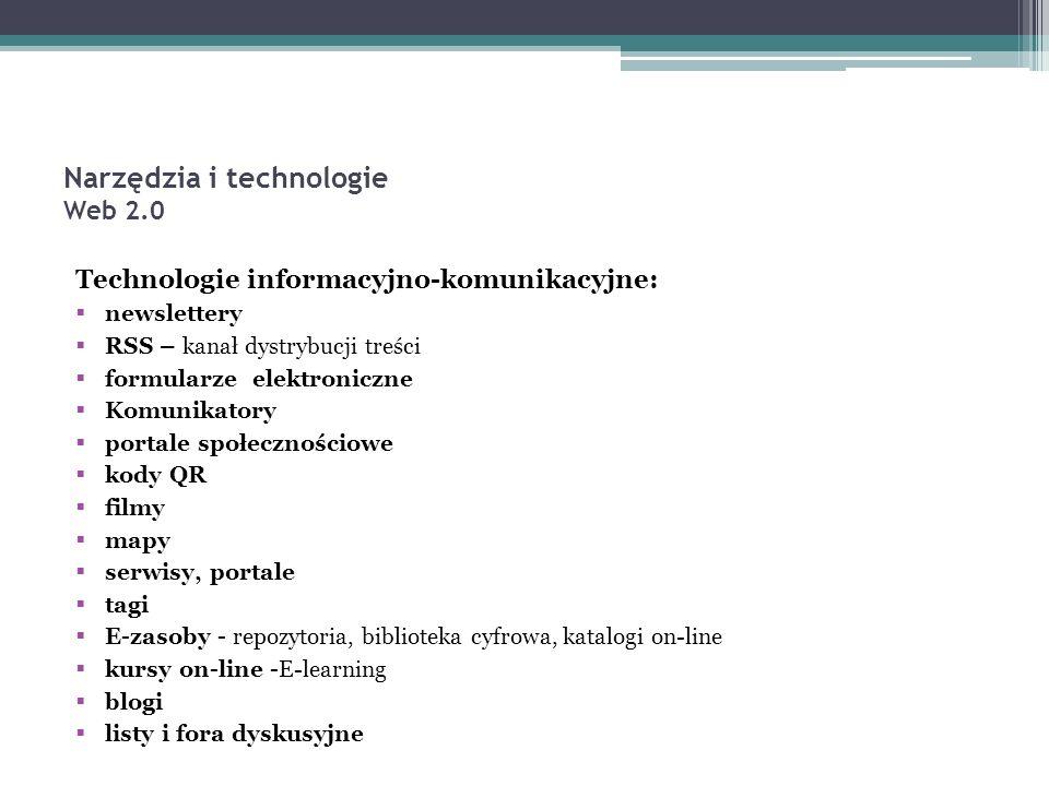 Technologie informacyjno-komunikacyjne:  newslettery  RSS – kanał dystrybucji treści  formularze elektroniczne  Komunikatory  portale społecznościowe  kody QR  filmy  mapy  serwisy, portale  tagi  E-zasoby - repozytoria, biblioteka cyfrowa, katalogi on-line  kursy on-line -E-learning  blogi  listy i fora dyskusyjne