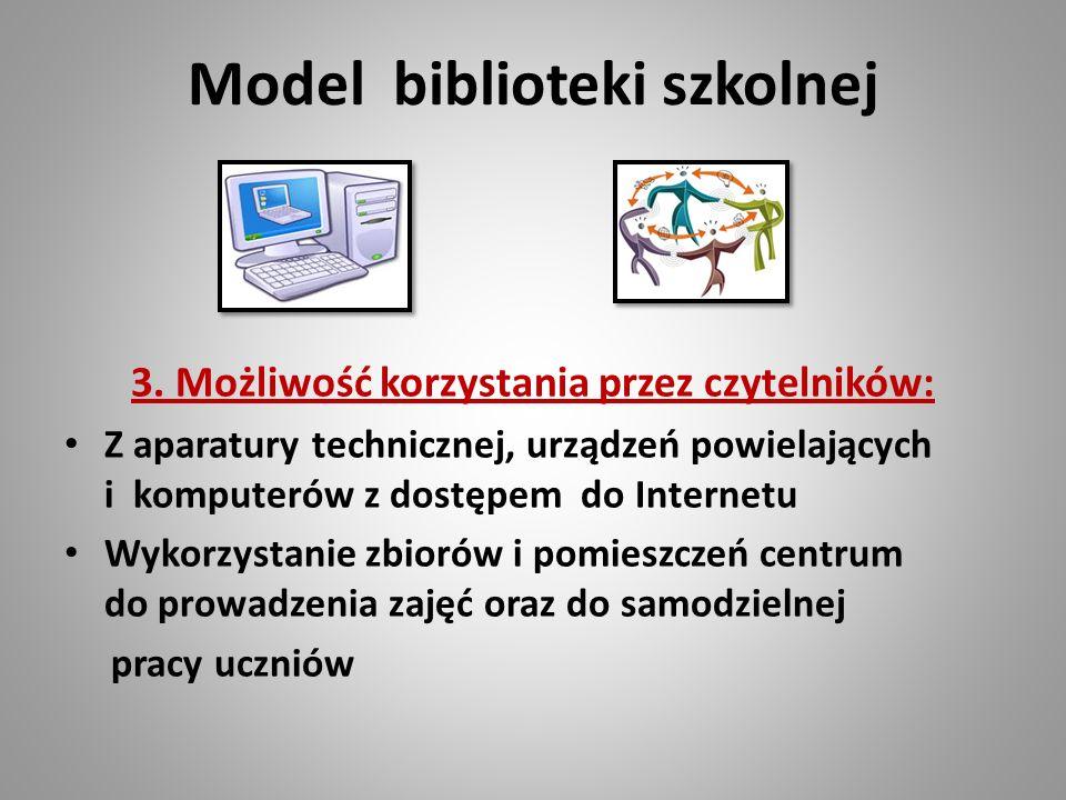 Model biblioteki szkolnej 3. Możliwość korzystania przez czytelników: Z aparatury technicznej, urządzeń powielających i komputerów z dostępem do Inter