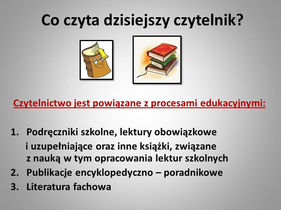 Co czyta dzisiejszy czytelnik? Czytelnictwo jest powiązane z procesami edukacyjnymi: 1.Podręczniki szkolne, lektury obowiązkowe i uzupełniające oraz i