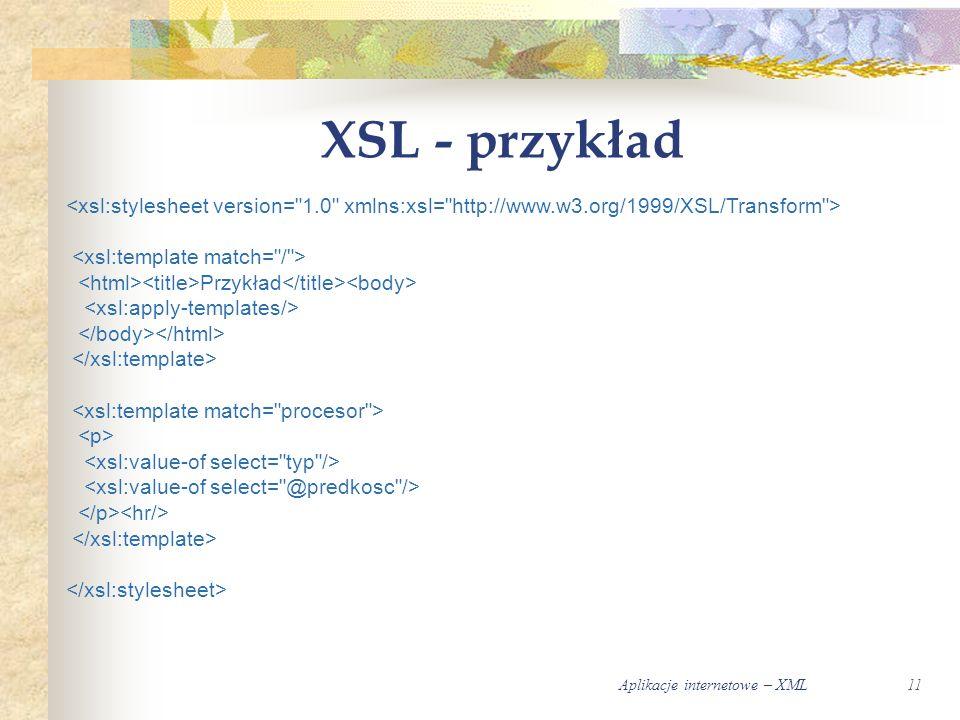 Aplikacje internetowe – XML11 XSL - przykład Przykład