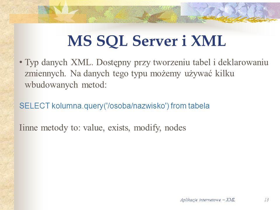 Aplikacje internetowe – XML13 MS SQL Server i XML Typ danych XML.