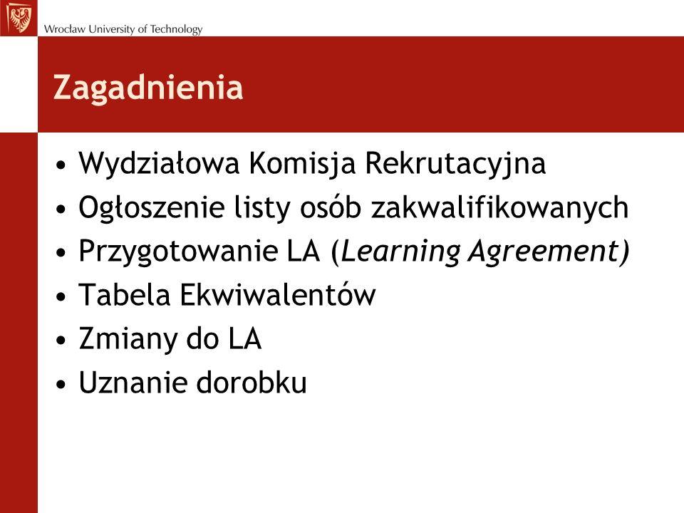 Zagadnienia Wydziałowa Komisja Rekrutacyjna Ogłoszenie listy osób zakwalifikowanych Przygotowanie LA (Learning Agreement) Tabela Ekwiwalentów Zmiany do LA Uznanie dorobku