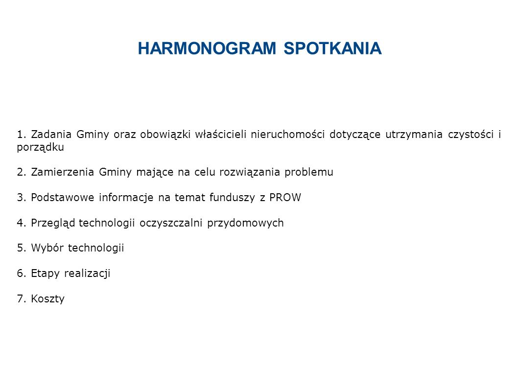 HARMONOGRAM SPOTKANIA 1.