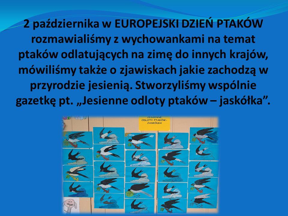 2 października w EUROPEJSKI DZIEŃ PTAKÓW rozmawialiśmy z wychowankami na temat ptaków odlatujących na zimę do innych krajów, mówiliśmy także o zjawisk