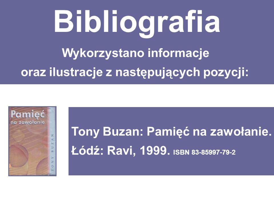 Bibliografia Wykorzystano informacje oraz ilustracje z następujących pozycji: Tony Buzan: Pamięć na zawołanie.