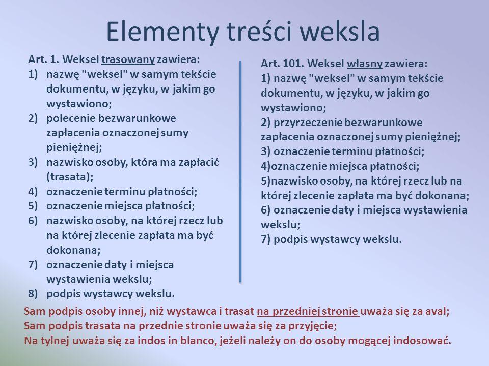 Elementy treści weksla Art. 1.