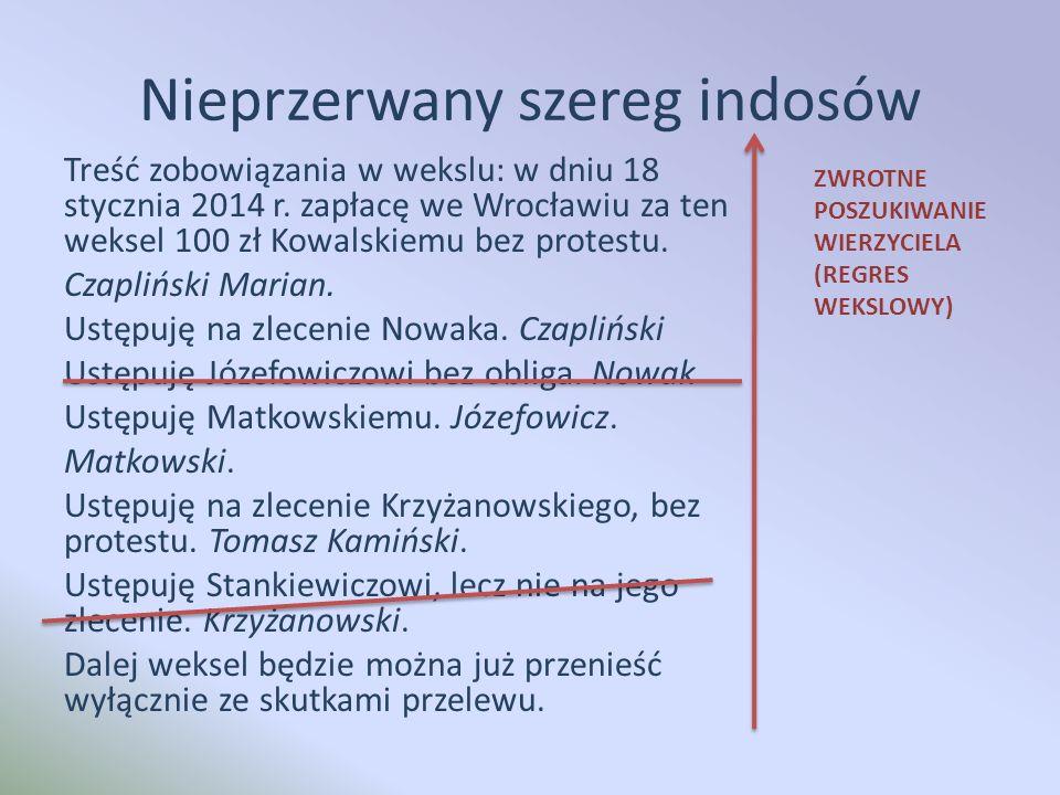Nieprzerwany szereg indosów Treść zobowiązania w wekslu: w dniu 18 stycznia 2014 r.