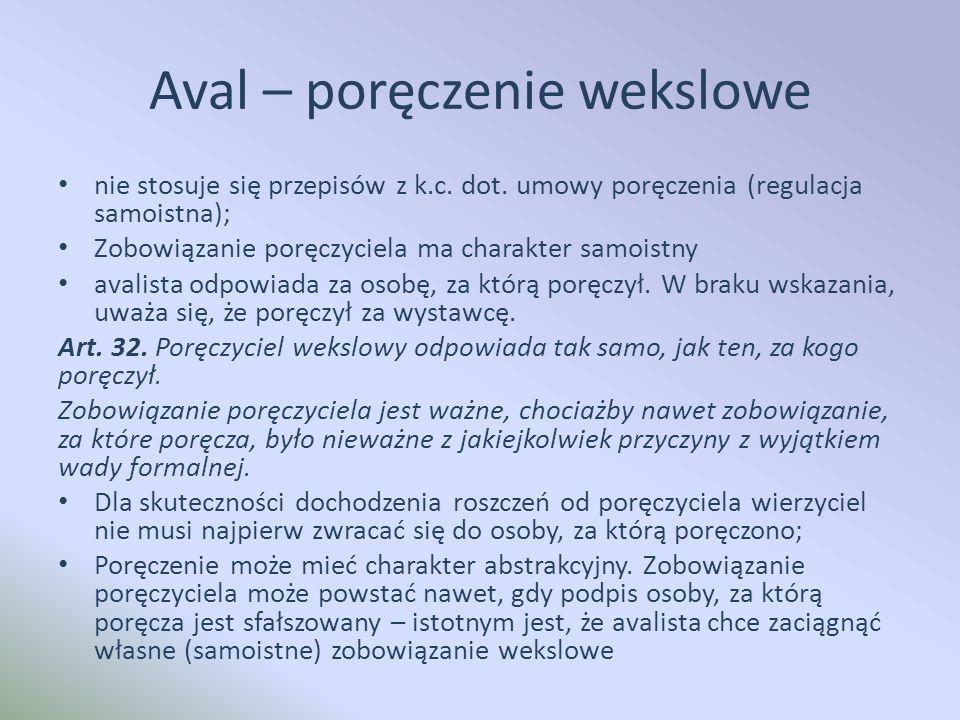 Aval – poręczenie wekslowe nie stosuje się przepisów z k.c.