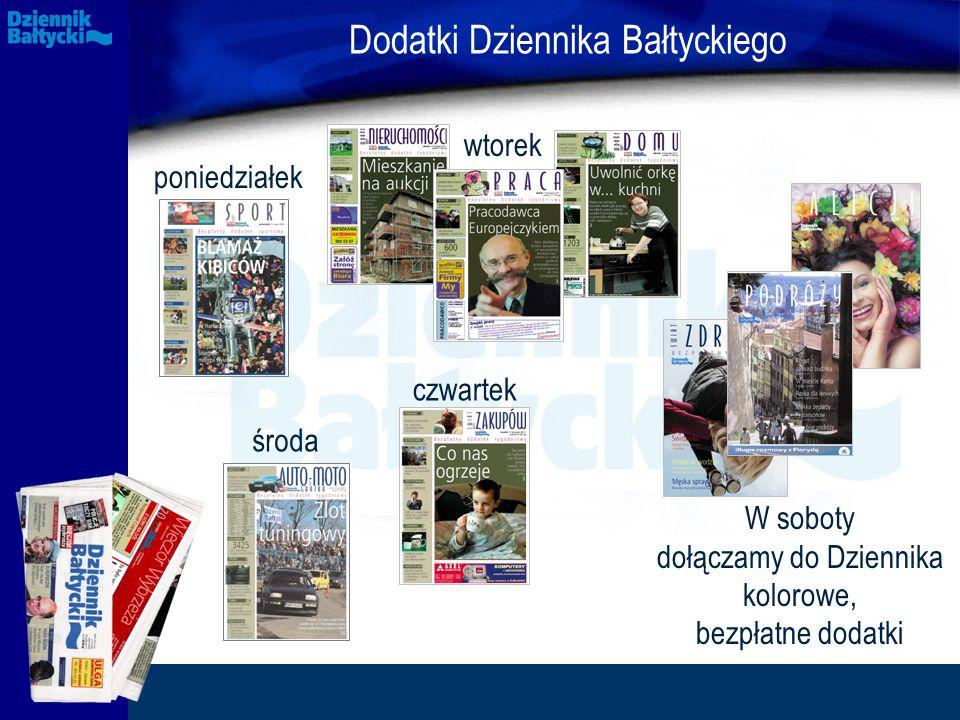 poniedziałek wtorek środa czwartek Dodatki Dziennika Bałtyckiego W soboty dołączamy do Dziennika kolorowe, bezpłatne dodatki