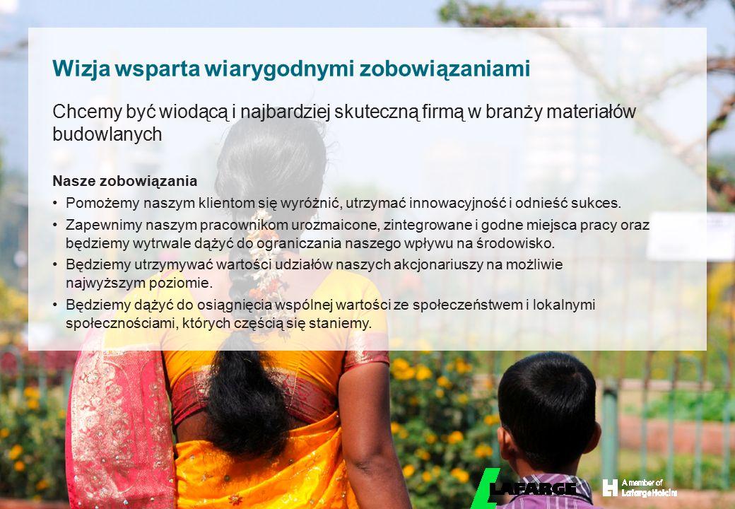 © LafargeHolcim 2015 Chcemy być wiodącą i najbardziej skuteczną firmą w branży materiałów budowlanych Nasze zobowiązania Pomożemy naszym klientom się