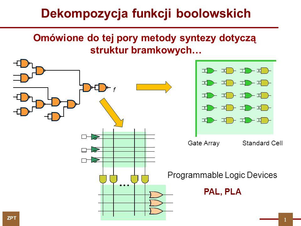 ZPT f Gate ArrayStandard Cell Programmable Logic Devices PAL, PLA 1 Omówione do tej pory metody syntezy dotyczą struktur bramkowych… Dekompozycja funk