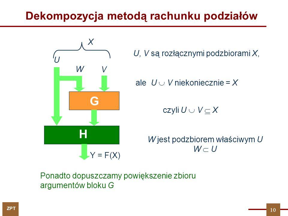 ZPT 10 V U G H Y = F(X) W czyli U  V  X Dekompozycja metodą rachunku podziałów X Ponadto dopuszczamy powiększenie zbioru argumentów bloku G U, V są rozłącznymi podzbiorami X, ale U  V niekoniecznie = X W jest podzbiorem właściwym U W  U