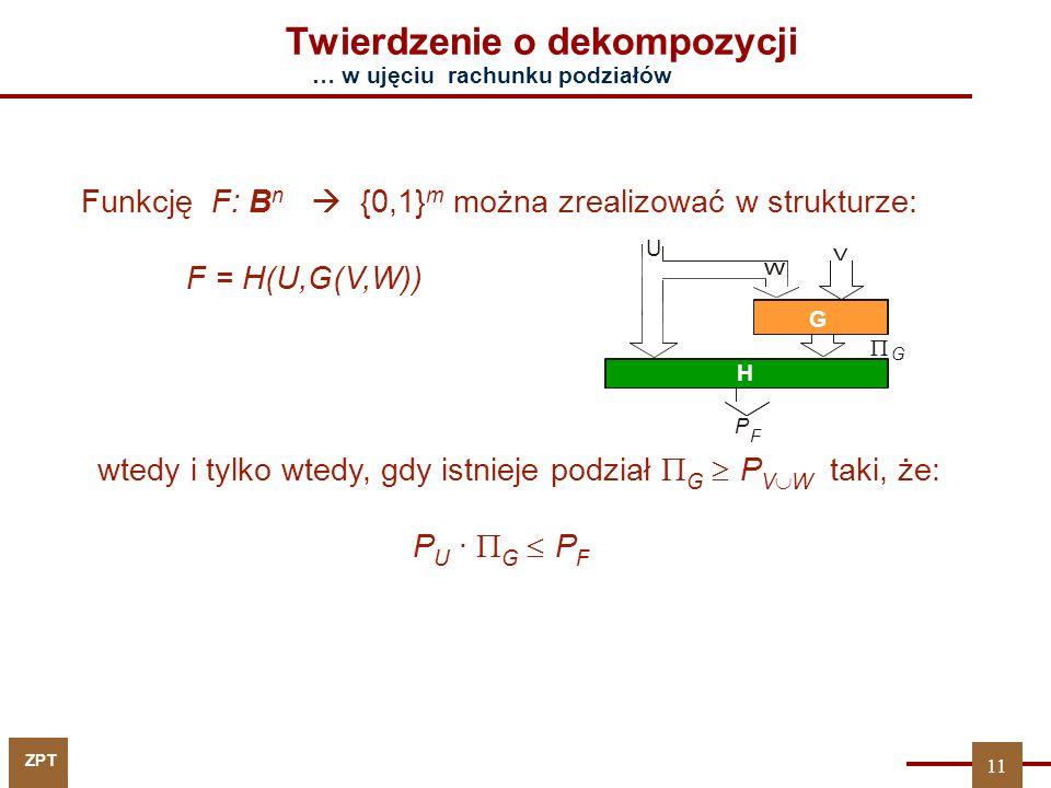ZPT 11 … w ujęciu rachunku podziałów Funkcję F: B n  {0,1} m można zrealizować w strukturze: F = H(U,G(V,W)) Twierdzenie o dekompozycji U G H  G P F wtedy i tylko wtedy, gdy istnieje podział G  PVW G  PVW taki, że: P U ·  G  P F