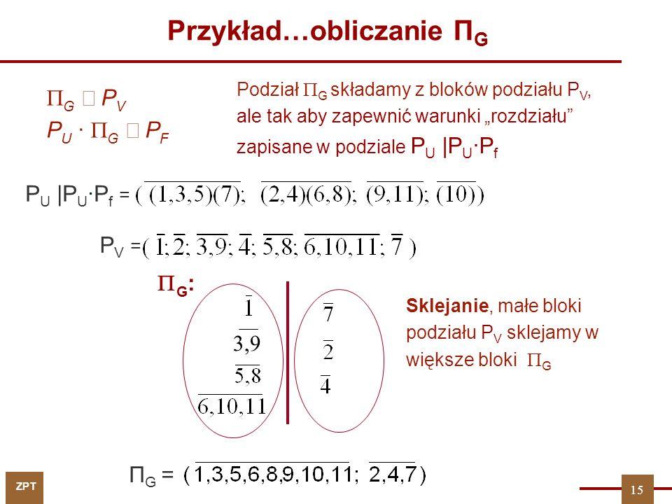 ZPT 15 Przykład…obliczanie П G 3,9 П G = PV =PV = P U |P U ·P f =  G  P V P U ·  G  P F Podział  G składamy z bloków podziału P V, ale tak aby za