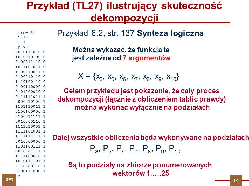 ZPT 19 Przykład (TL27) ilustrujący skuteczność dekompozycji.type fr.i 10.o 1.p 25 0010111010 0 1010010100 0 0100011110 0 1011101011 0 1100010011 0 0100010110 0 1110100110 0 0100110000 0 0101000010 0 0111111011 1 0000010100 1 1101110011 1 0100100000 1 0100011111 1 0010000110 1 1111010001 1 1111101001 1 1111111111 1 0010000000 1 1101100111 1 0010001111 1 1111100010 1 1010111101 1 0110000110 1 0100111000 1.e Można wykazać, że funkcja ta jest zależna od 7 argumentów X = {x 3, x 5, x 6, x 7, x 8, x 9, x 10 } Przykład 6.2, str.