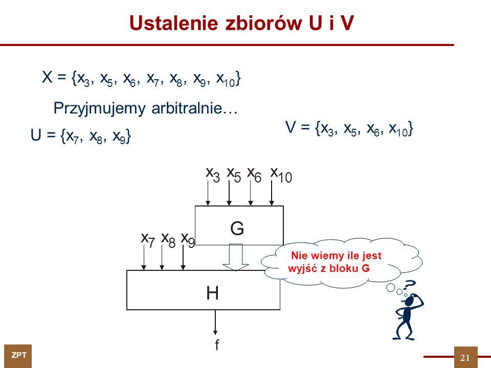 ZPT 21 Ustalenie zbiorów U i V X = {x 3, x 5, x 6, x 7, x 8, x 9, x 10 } U = {x 7, x 8, x 9 } V = {x 3, x 5, x 6, x 10 } f G H x 7 x 8 x 9 x 3 x 5 x 6 x 10 Przyjmujemy arbitralnie… Nie wiemy ile jest wyjść z bloku G