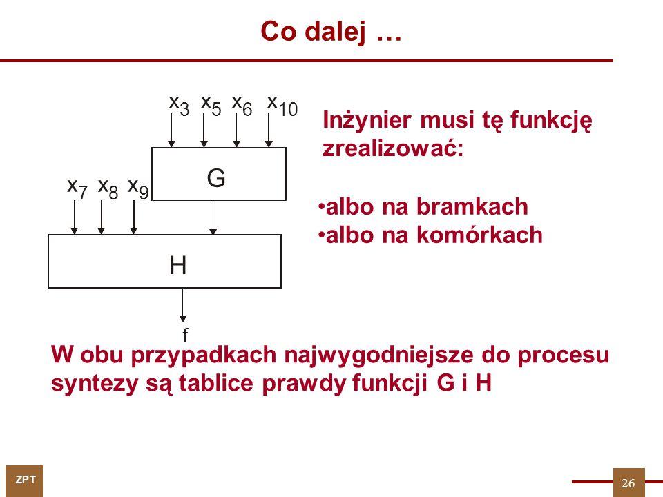 ZPT 26 Co dalej … W obu przypadkach najwygodniejsze do procesu syntezy są tablice prawdy funkcji G i H f G H x 7 x 8 x 9 x 3 x 5 x 6 x 10 Inżynier mus