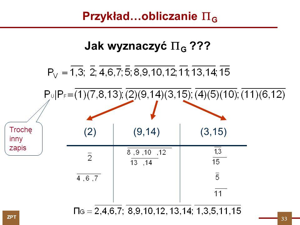 ZPT 33 Przykład…obliczanie  G (2)(9,14)(3,15) Jak wyznaczyć  G ??? Trochę inny zapis