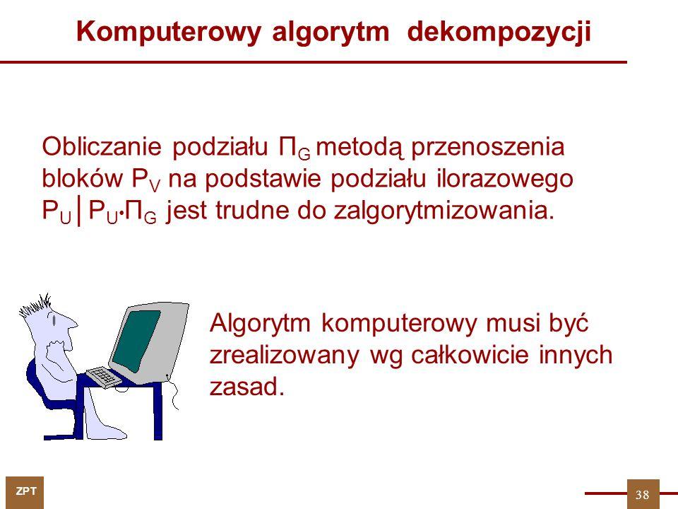 ZPT 38 Obliczanie podziału Π G metodą przenoszenia bloków P V na podstawie podziału ilorazowego P U │P U Π G jest trudne do zalgorytmizowania. Kompute