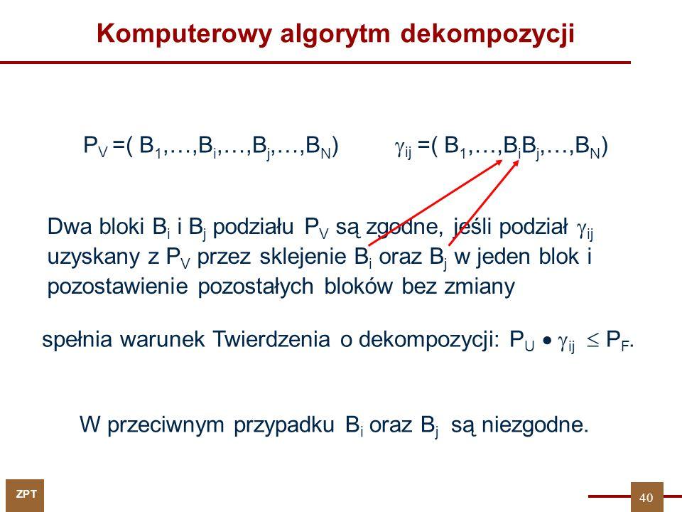 ZPT 40 Komputerowy algorytm dekompozycji Dwa bloki B i i B j podziału P V są zgodne, jeśli podział  ij uzyskany z P V przez sklejenie B i oraz B j w jeden blok i pozostawienie pozostałych bloków bez zmiany W przeciwnym przypadku B i oraz B j są niezgodne.